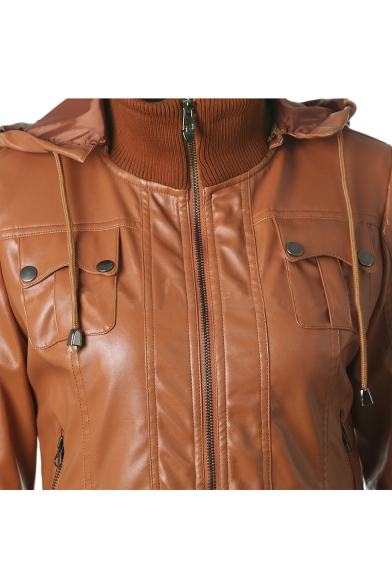 Rib Knit Trim Panel Long Sleeve Zip Front Hooded Leather Jacket