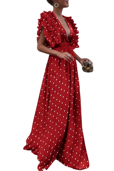 Ruffle Detail Polka Dot V neck Short Sleeve Maxi A-Line Dress