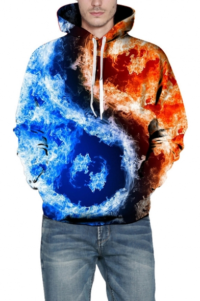 f4ee1e36f956 3D Color Block Fire Pattern Long Sleeve Unisex Hoodie - Beautifulhalo.com