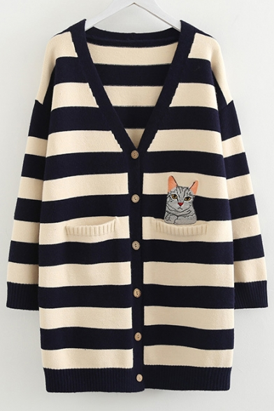 Cat Embroidered Striped V Neck Long Sleeve Button Front Tunic Cardigan LC487969 фото