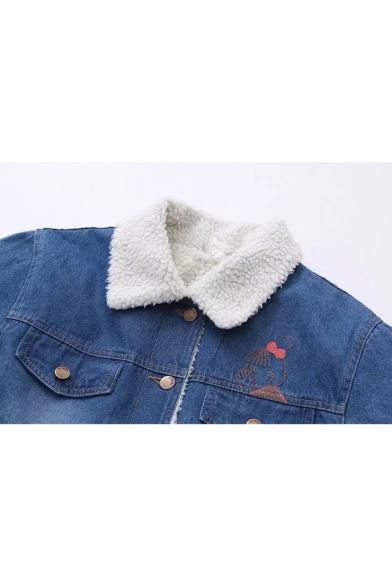 Cat Girl Embroidered Button Front Long Sleeve Denim Sherpa Jacket