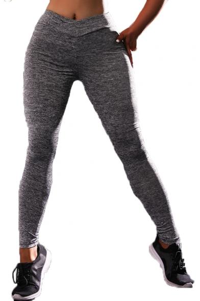 Elastic Waist Heather Skinny Sport Yoga Leggings