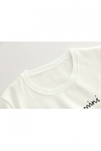 MINI CAT Letter Embroidered Color Block Round Neck Long Sleeve Sweatshirt
