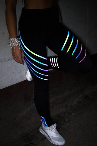 Reflective Trim Elastic Waist Skinny Sports Leggings