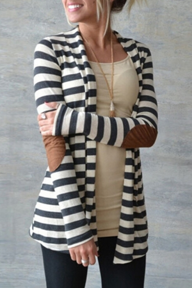Striped Long Sleeve Open Front Contrast Elbow Patch Leisure Cardigan Coat