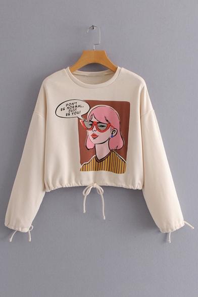 Cartoon Girl Letter Print Round Neck Drawstring Hem Long Sleeve Cropped Sweatshirt