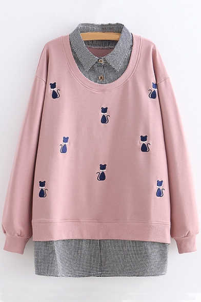 Layered Shirt-Style Contrast Plaid Patchwork Cat Embroidered Long Sleeve Tunic Sweatshirt