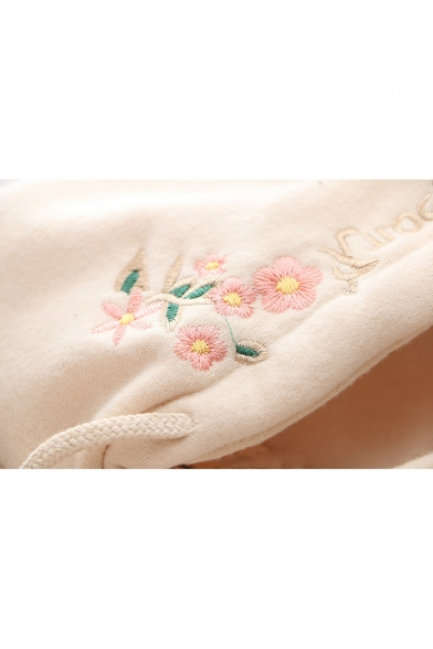 Letter Floral Embroidered Contrast Pocket Patch Long Sleeve Casual Hoodie