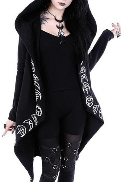Punk Style Moon Print Long Sleeve Open Front Hooded Coat