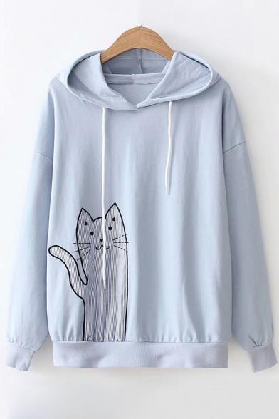 Striped Cat Print Drawstring Hood Long Sleeve Casual Hoodie