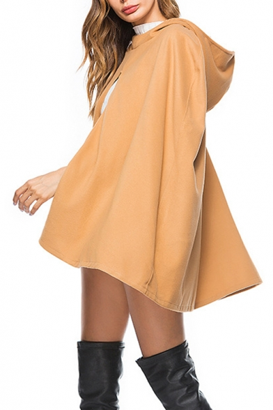 Women's Fashion Hooded Simple Solid Wool Poncho Coat