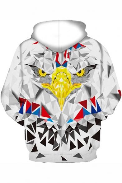 3D Geometric Eagle Print Long Sleeve Loose Hoodie