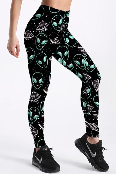 Alien UFO Print Elastic Waist Skinny Yoga Leggings