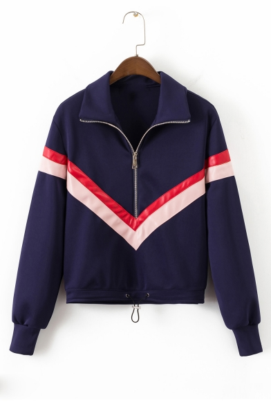 Contrast Striped Leather Patchwork Half-Zip Stand Collar Long Sleeve Sweatshirt