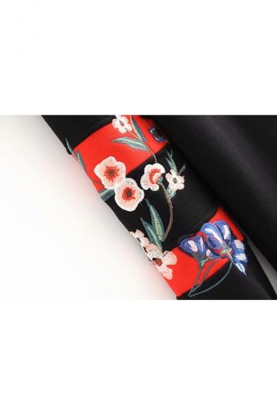 Contrast Trim Floral Embroidered Drawstring Hood Long Sleeve Loose Hoodie
