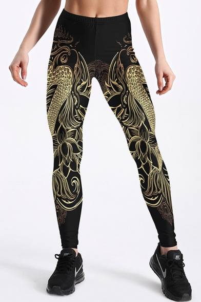 Cool Dragon Print Elastic Waist Skinny Leggings