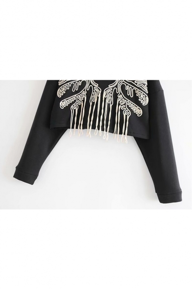 Cool Embroidered Tassel Embellished Round Neck Long Sleeve Cropped Sweatshirt
