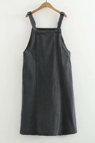 Dog Letter Embroidered Straps Sleeveless Midi Overall Denim Dress