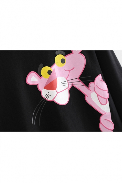 Lovely Cartoon Animal Print Round Neck Long Sleeve Pullover Sweatshirt for Woman