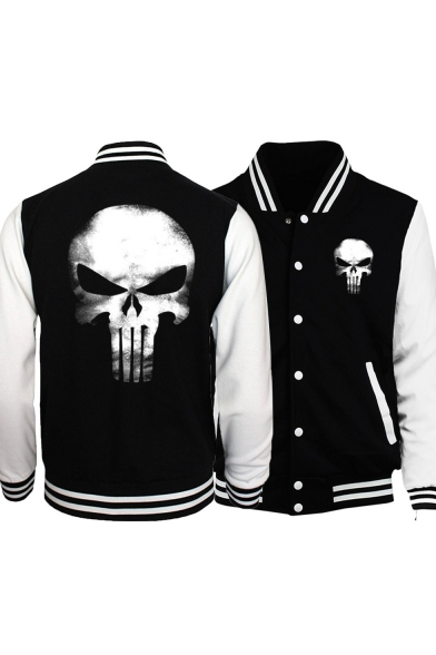 Skull Print Stand Collar Color Block Button Front Slim Baseball Jacket