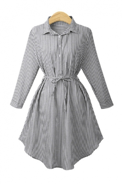 Striped Lapel Collar Long Sleeve Tie Waist Midi Shirt Dress