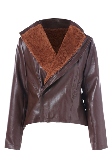 Winter's New Arrival Long Sleeve Zip Up Dark Brown PU Biker Jacket