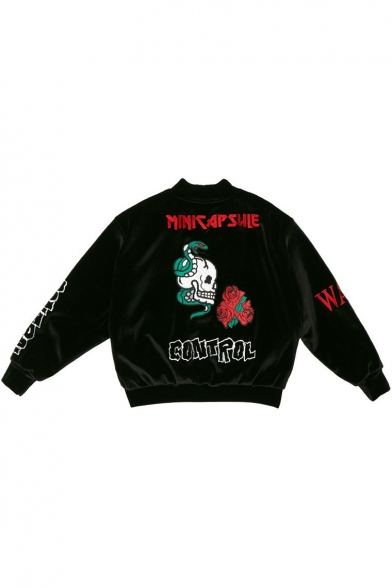 Korean Star JIMIN Floral Skull Embroidered Stand Collar Long Sleeve Zip Front Baseball Jacket