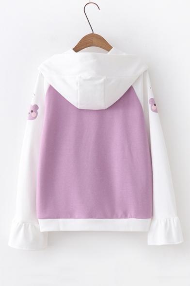 Color Block Bear Print Raglan Long Sleeve Casual Hoodie