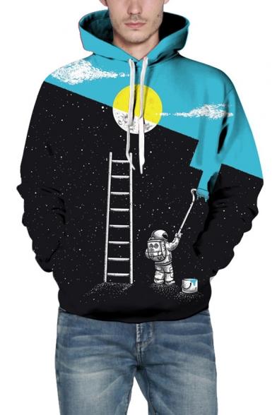 Color Block Drawing Astronaut Print Long Sleeve Casual Hoodie