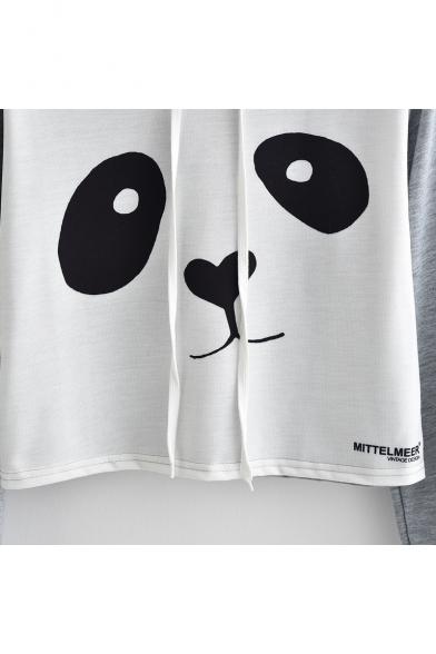 Color Block Panda Print Long Sleeve Cropped Hoodie