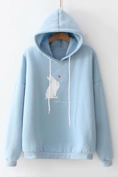 Heart Rabbit Pattern Long Sleeve Casual Hoodie
