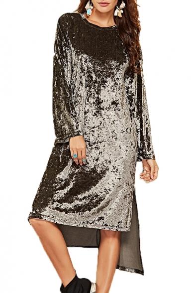 Velvet Round Neck Long Sleeve Asymmetric Hem Midi T-Shirt Dress