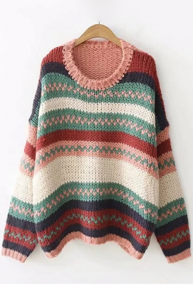 Vintage Color Block Striped Long Sleeve Round Neck Pullover Sweater
