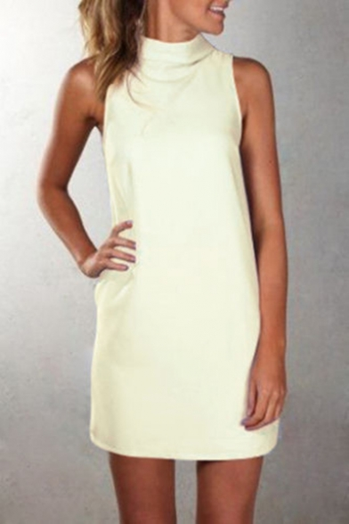 Chic Mock Neck Plain Sleeveless Mini A-Line Dress