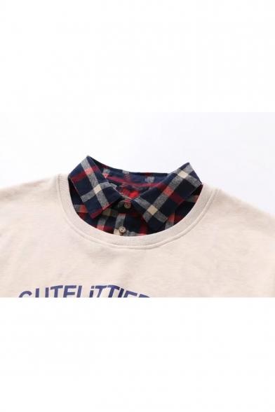Contrast Plaid Patchwork Letter Bear Print Long Sleeve Layered Sweatshirt