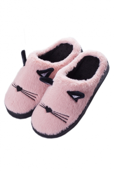 Cute Cat Embroidered Faux Fur Slippers