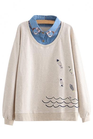 Fish Embroidered Contrast Lapel Collar Layered Long Sleeve Sweatshirt
