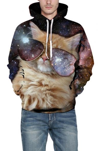 Galaxy Glasses Cat Print Long Sleeve Hoodie