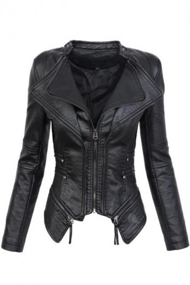 Layered Lapel Collar Zip Placket Asymmetric Hem Long Sleeve Slim Leather Jacket