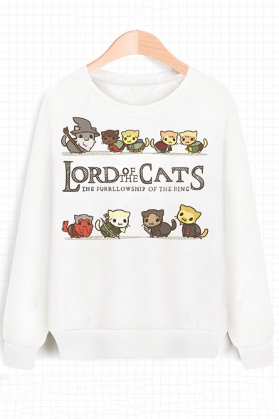 LORD Letter Cat Print Round Neck Long Sleeve Sweatshirt