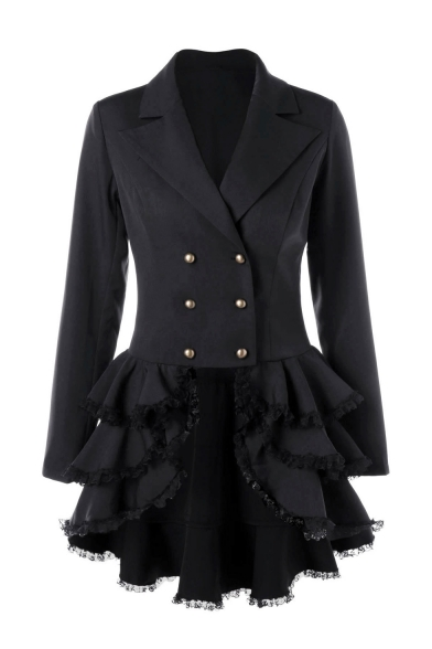 Notched Lapel Collar Plain Long Sleeve Double Breasted Lace Up Back Lace Insert Tiered Hem Slim Coat