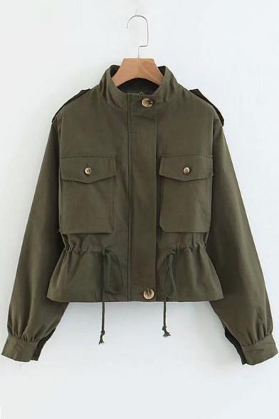 Plain Stand Collar Long Sleeve Drawstring Waist Military Jacket
