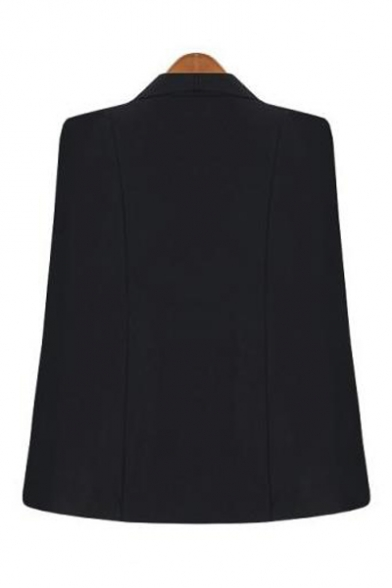 Shawl Collar Long Sleeve Open Front Plain Cape Blazer