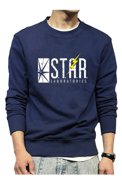 STAR Letter Lightning Print Round Neck Long Sleeve Sweatshirt