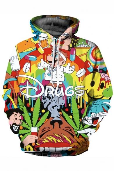 3D DRUGS Letter Cartoon Pattern Long Sleeve Hoodie