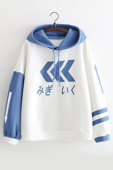 Arrow Japanese Print Color Block Long Sleeve Hoodie