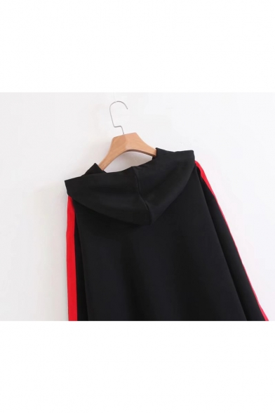 Contrast Extended Straps Patch Long Sleeve Loose Tunic Hoodie
