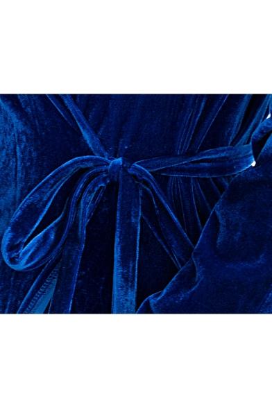 Elegant Velvet V Neck Plain Long Sleeve Split Front Maxi Wrap Dress