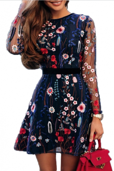 Floral Embroidered Mesh Patch Round Neck Long Sleeve Mini A-Line Dress
