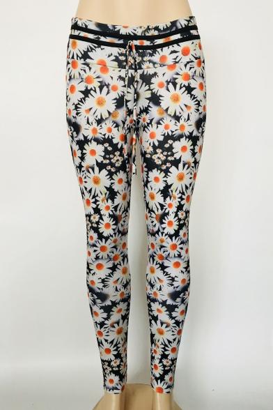 Floral Print Drawstring Waist Skinny Sport Leggings